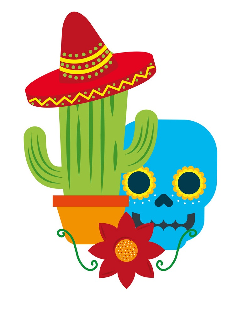 mexican skull cactus hat and flower