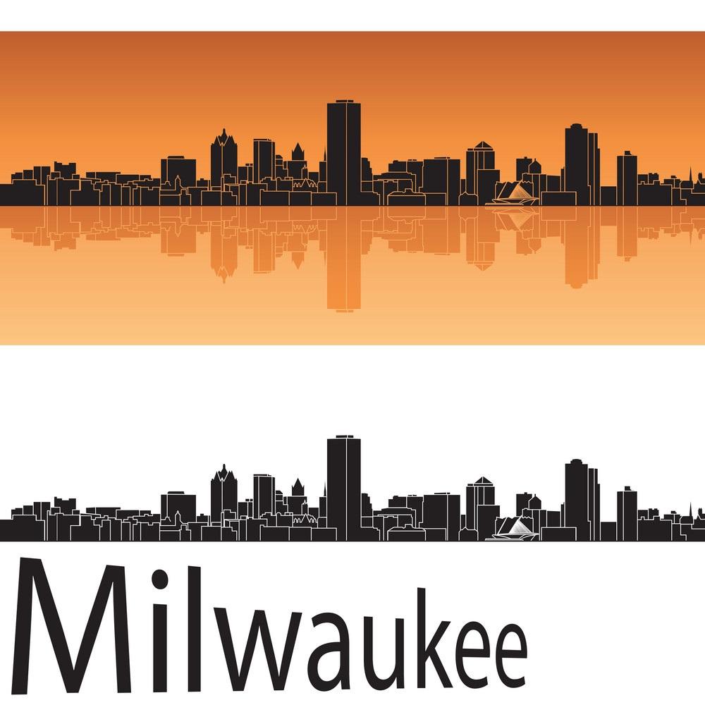 milwaukee skyline in orange background