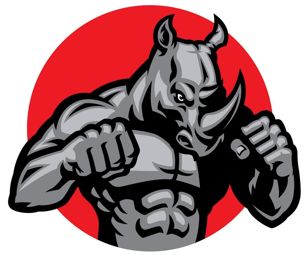 muscular rhino fighting pose
