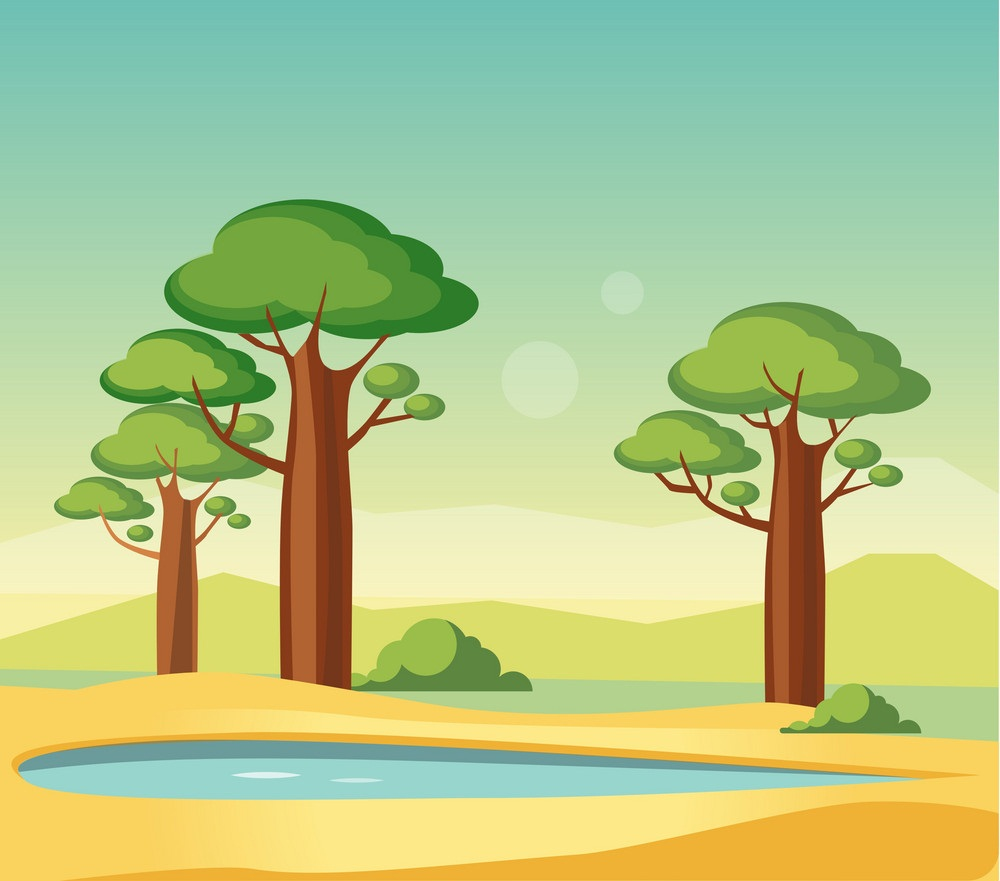 oasis with baobabs
