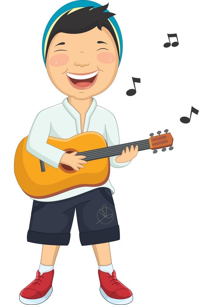 happy boy playing guitar