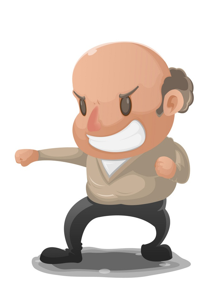 old man in fighting pose