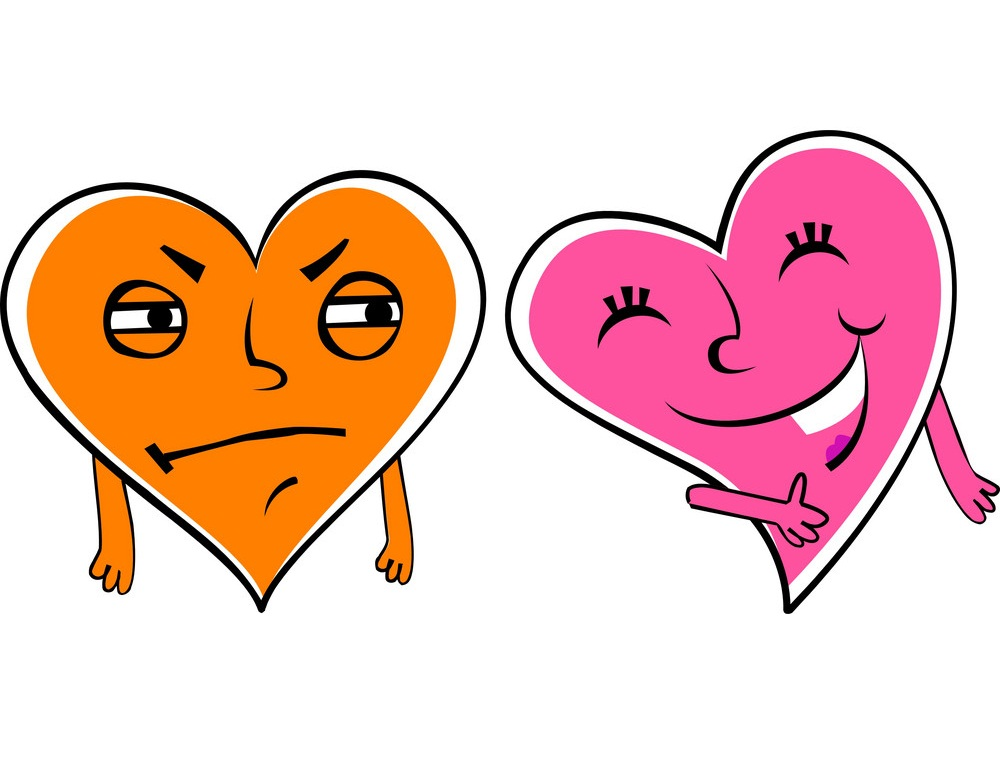 orange and pink hearts