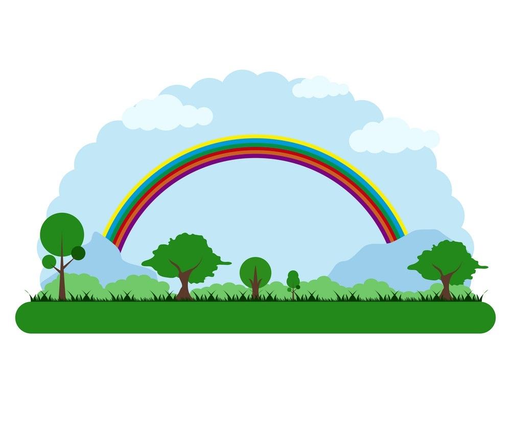 park landscape with rainbow