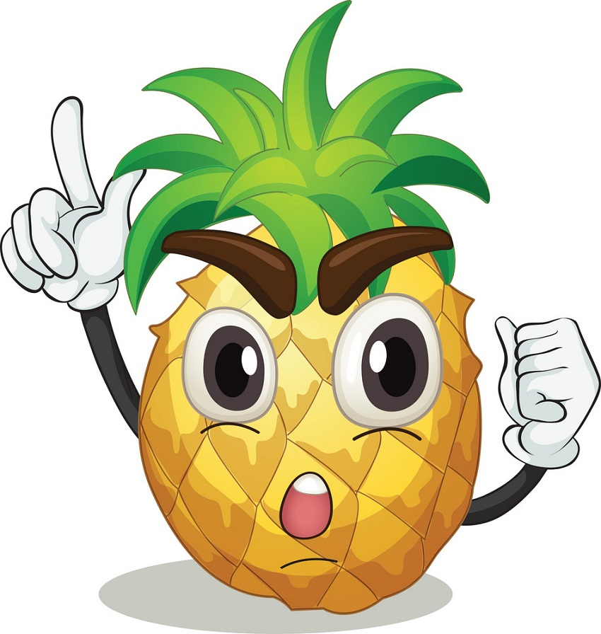 pineapple with hands and face