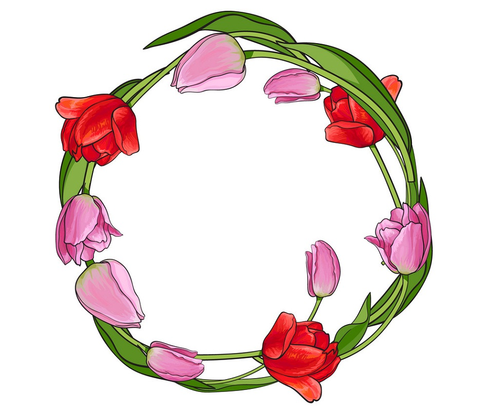 pink and red tulips wreath