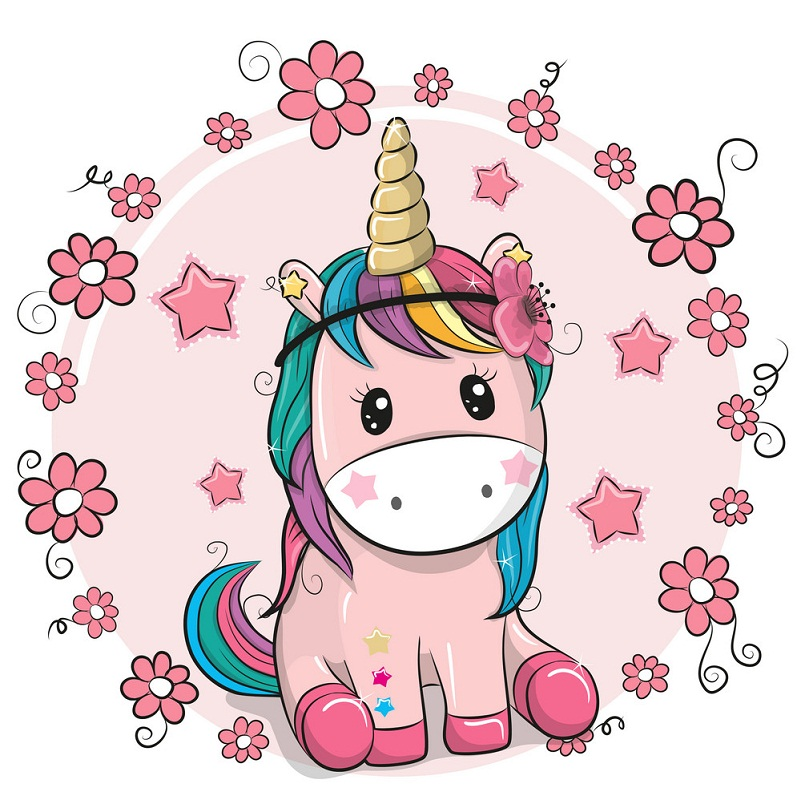 pink unicorn with pink stars and flowers