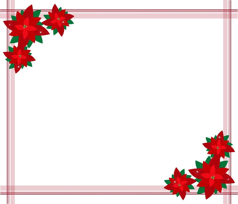 poinsettia flowers christmas border