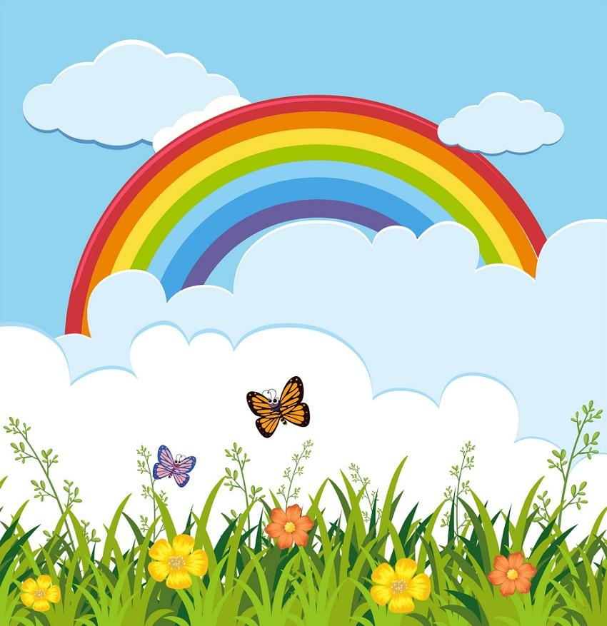 rainbow with garden scene