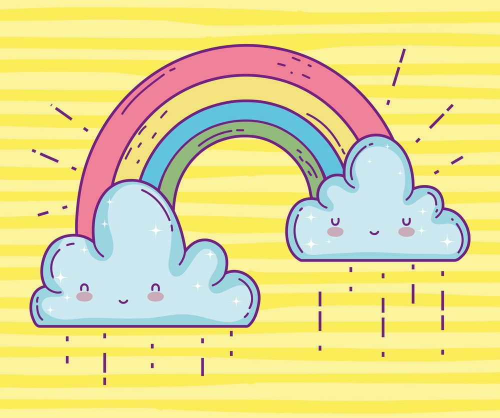 rainbow with happy clouds