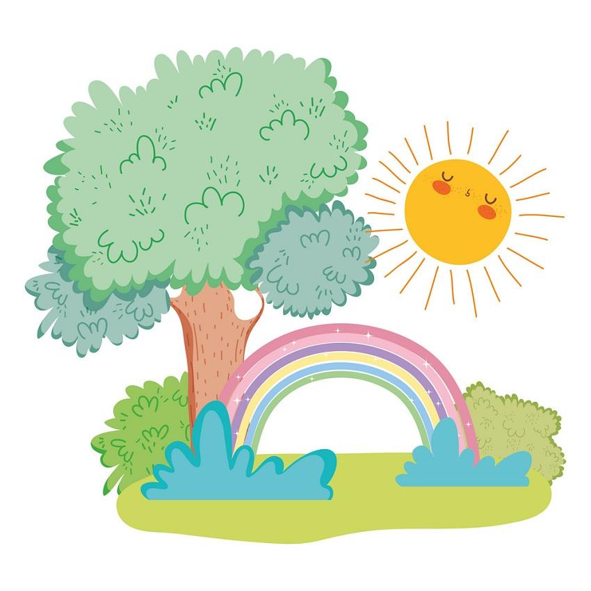 rainbow with happy sun