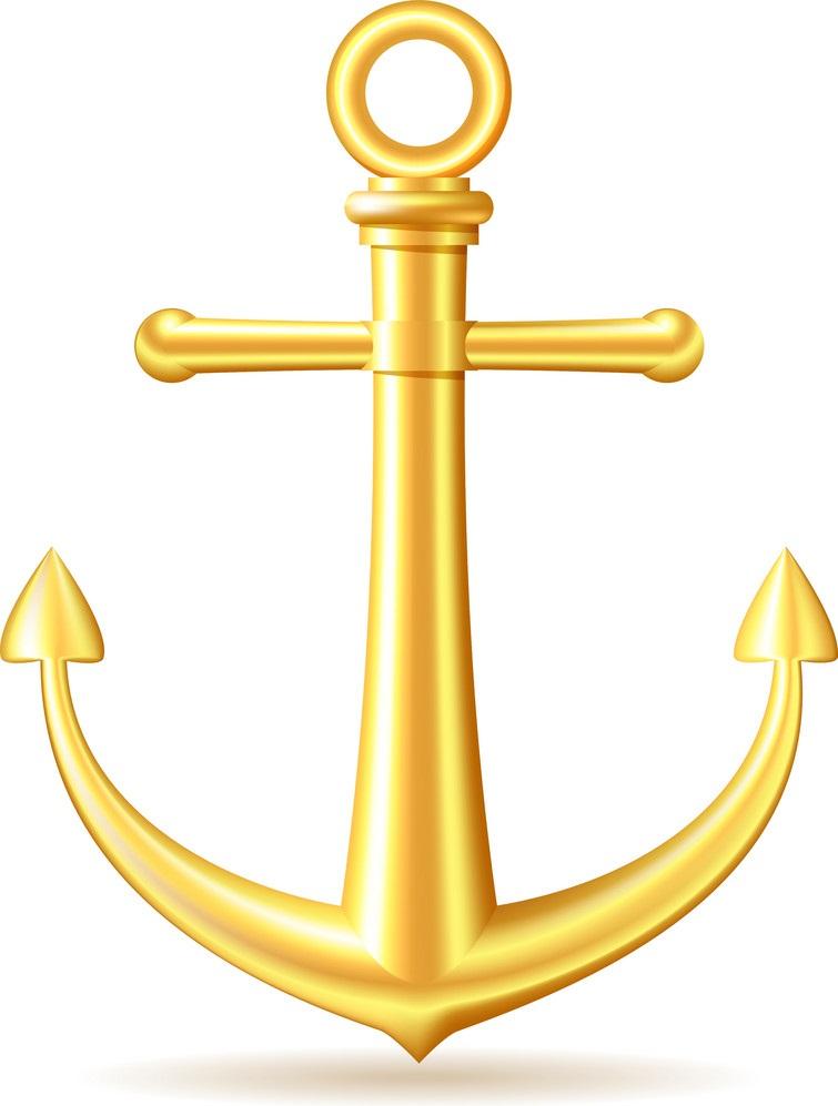 realistic golden anchor