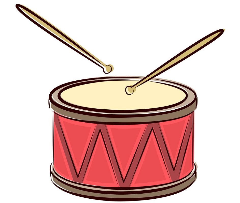 red drum with drum sticks