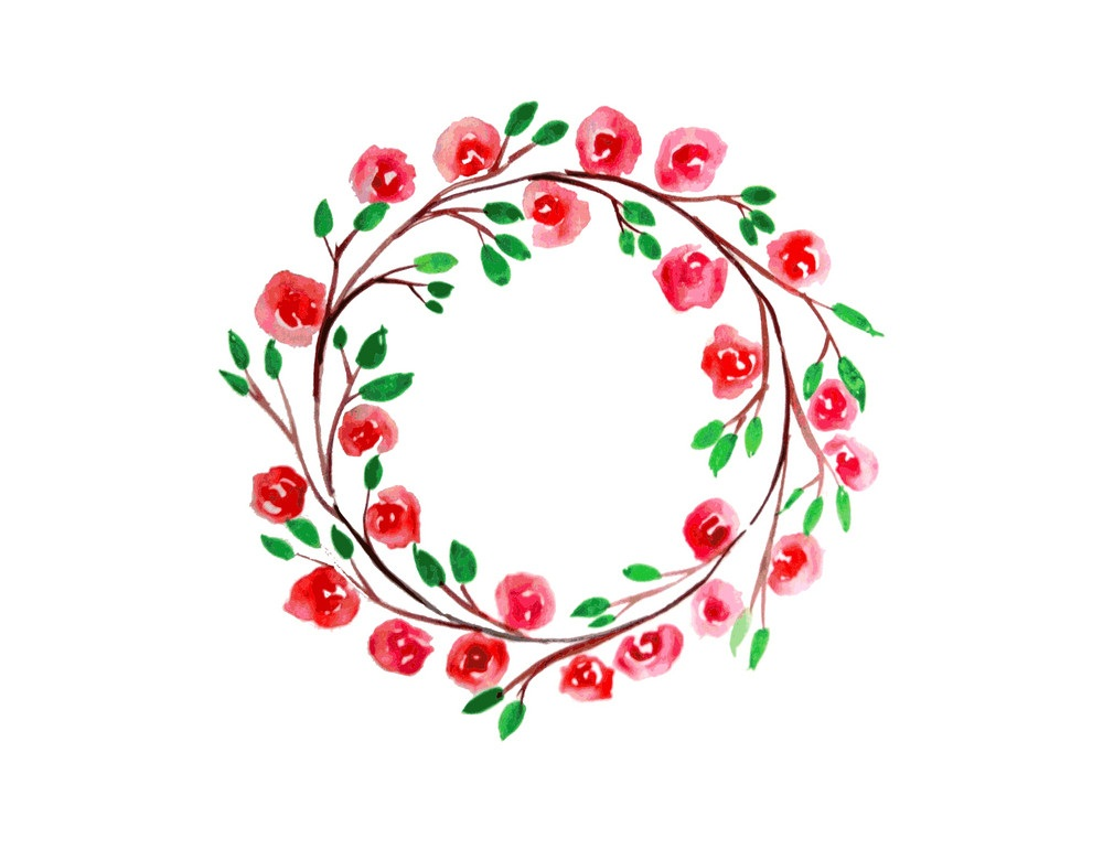 red flowers watercolor wreath