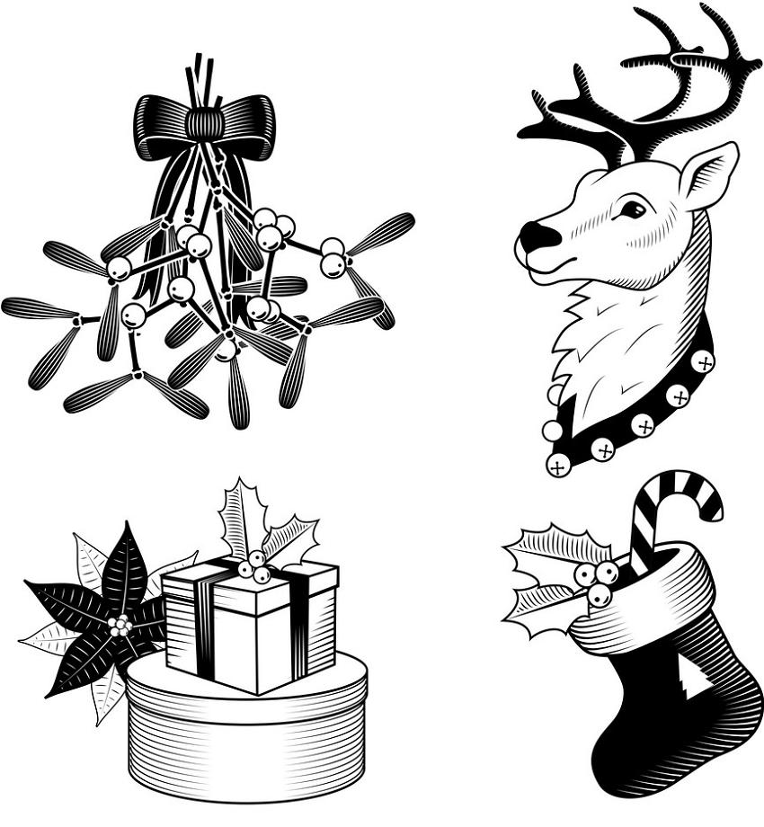 retro christmas set clipart black and white