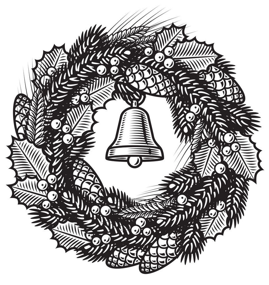 retro christmas wreath clipart black and white
