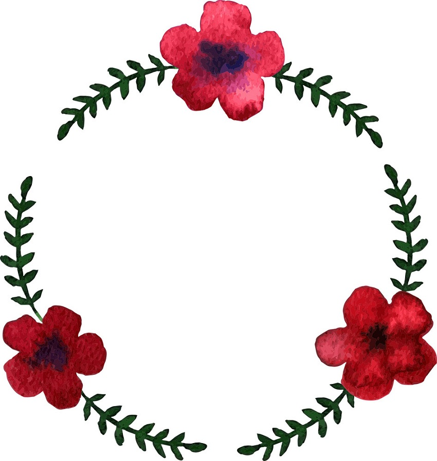 round wreath with red flowers