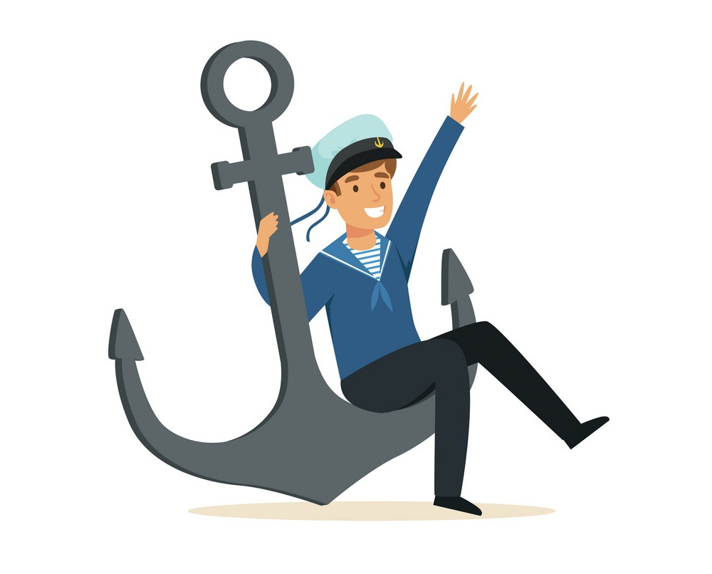 sailor man sitting on anchor