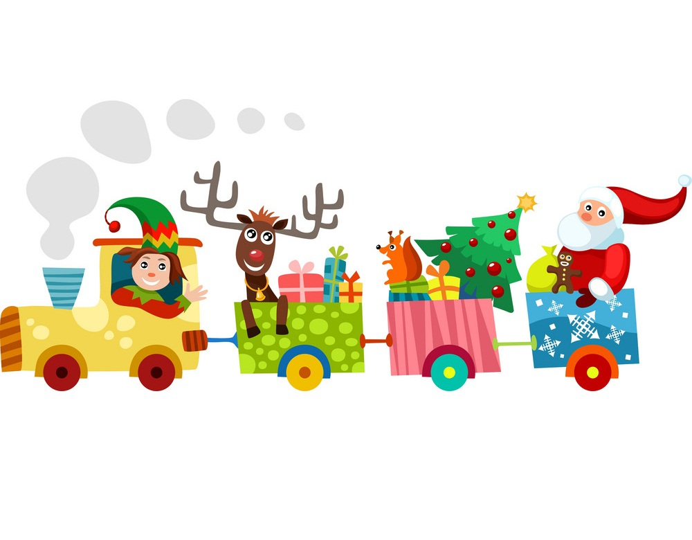 santa and elf on a toys train
