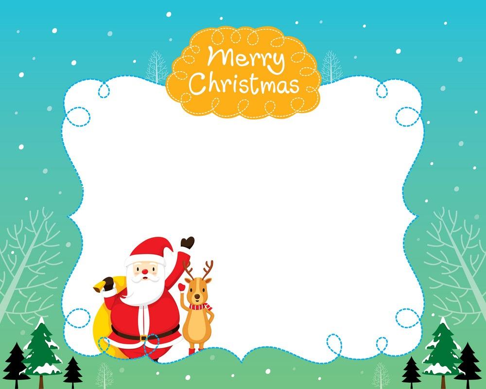 santa and reindeer on border