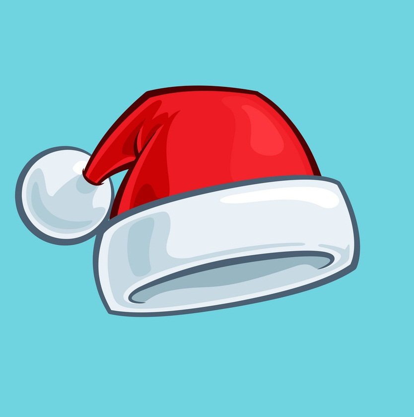 santa hat on blue background