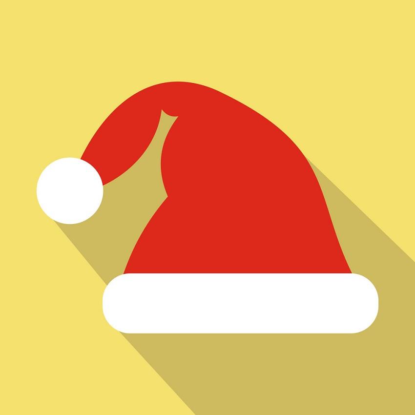 santa hat on yellow background
