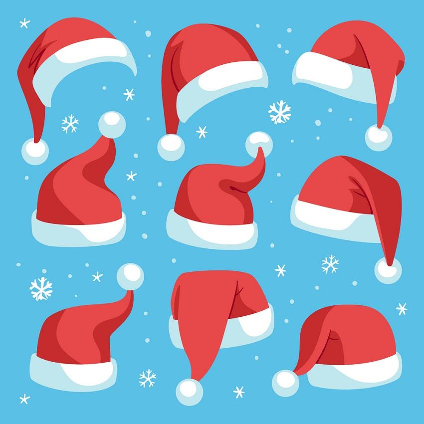 santa hats and snowflake