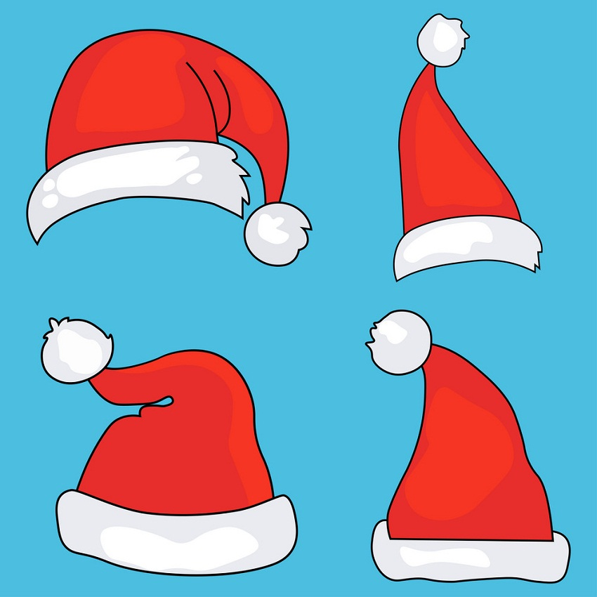 santa hats on blue background