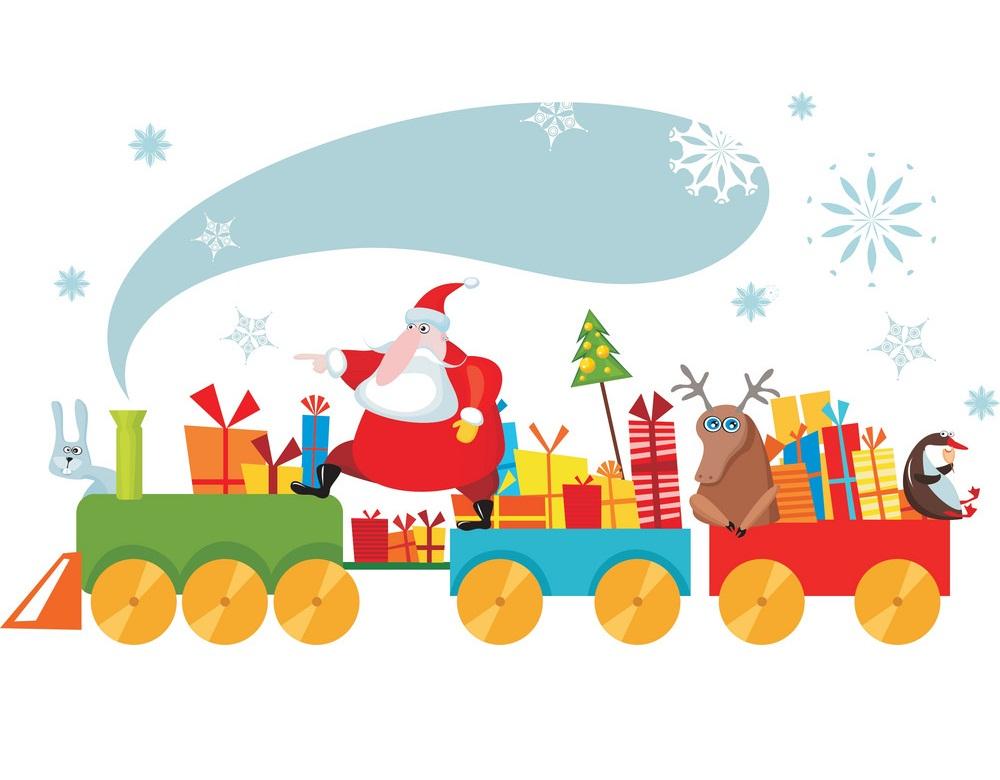 santa with toys train