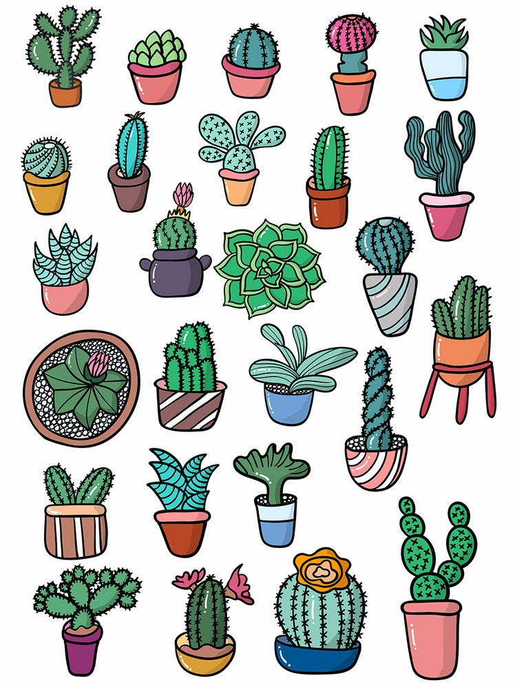 Vector of set cute cactus illustration