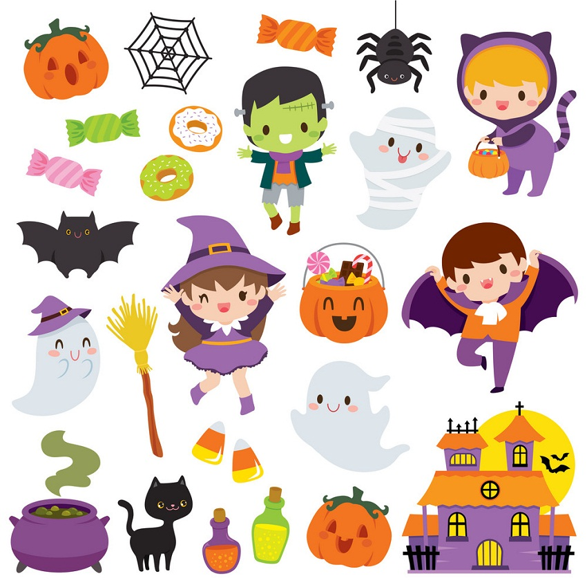 set of cute halloween icons