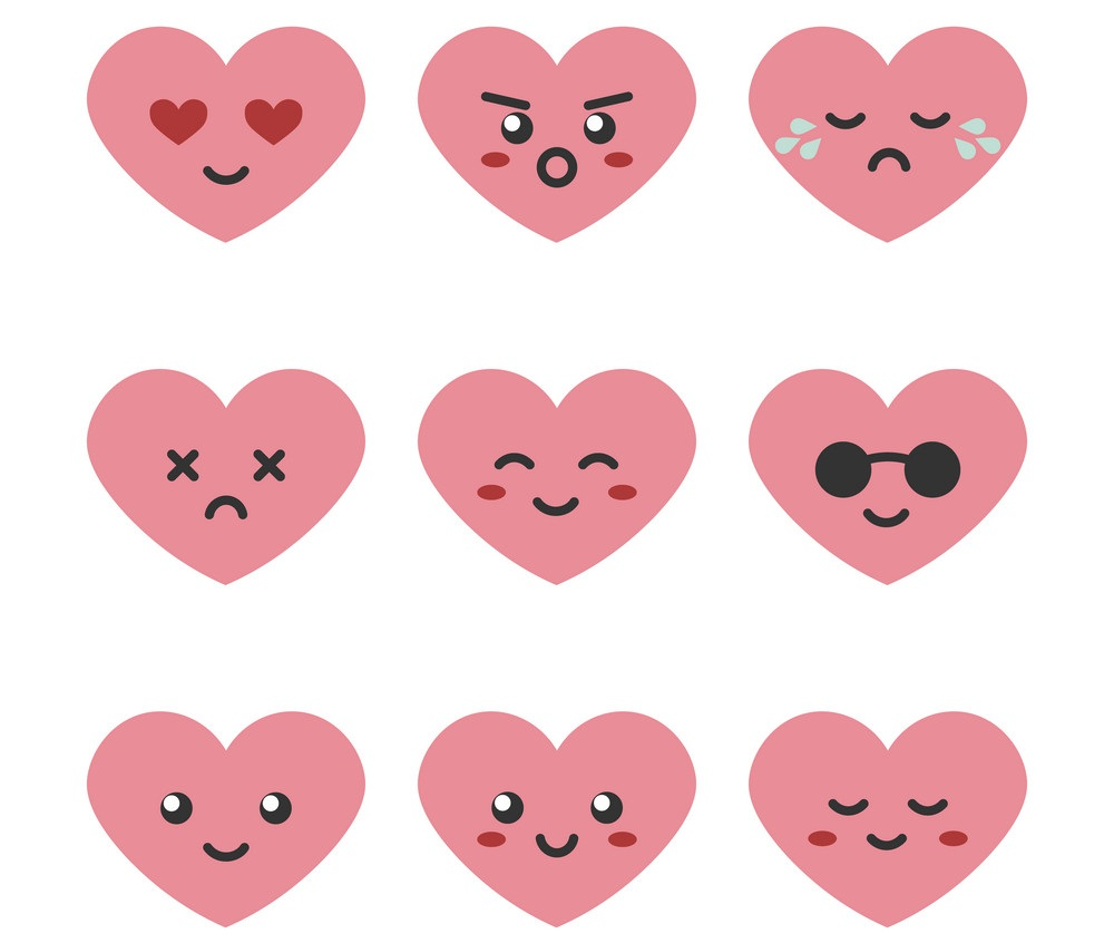 set of emoji hearts
