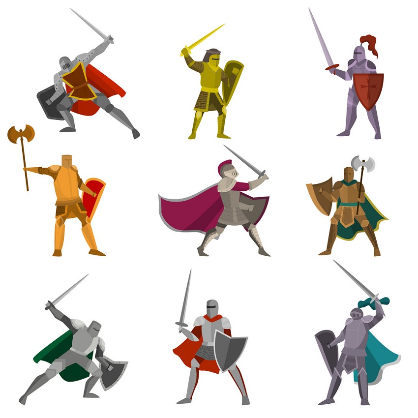 Set of fighting pose knights