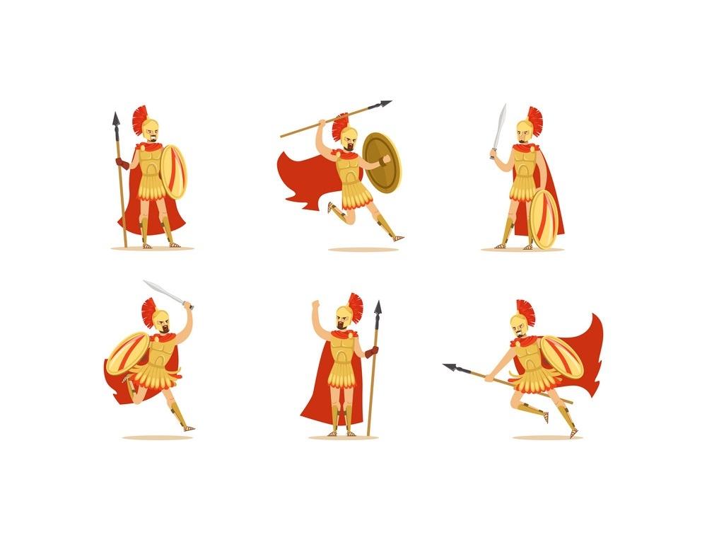 set of Gladiators fighting pose
