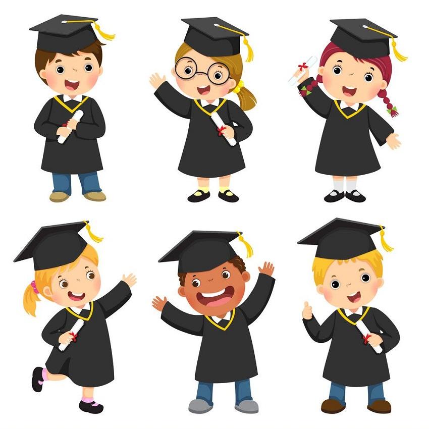 set of graduate children