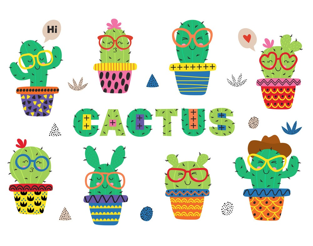 set of isolated funny cactus in glasses