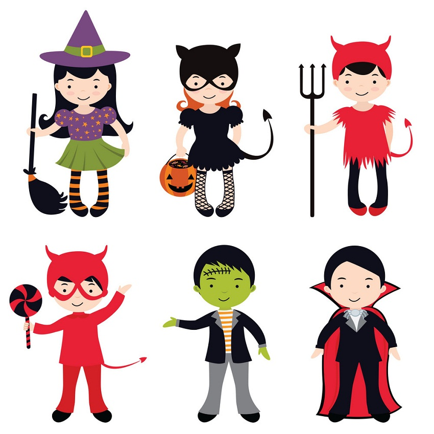 set of kids with halloween costume