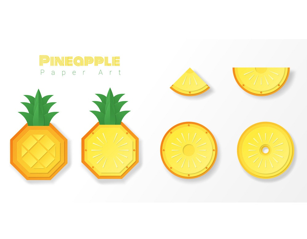 set of paper pineapple slices