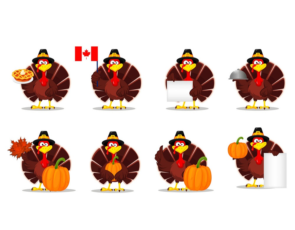 set of thanksgiving day turkeys