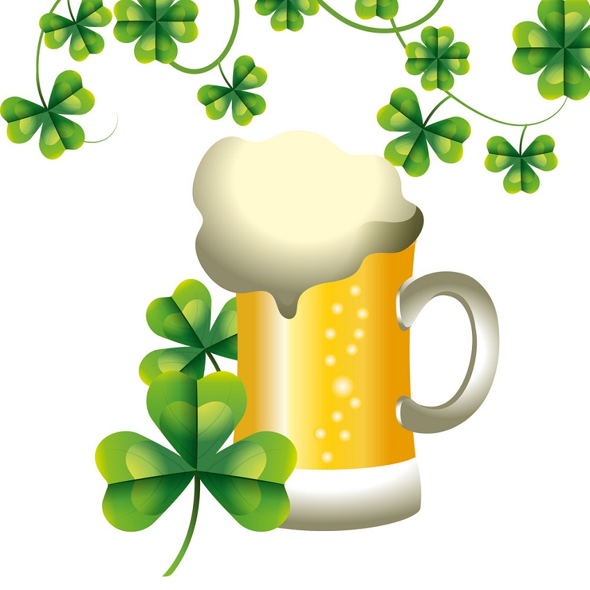 shamrock with beer
