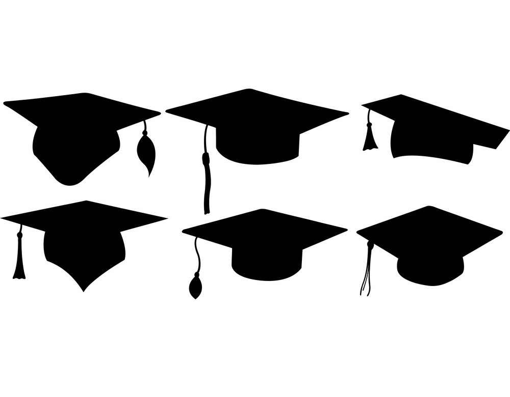 six different graduation hats