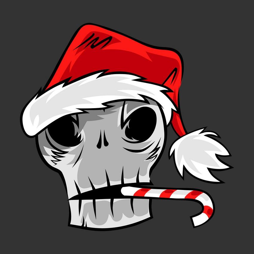 skull in santa hat