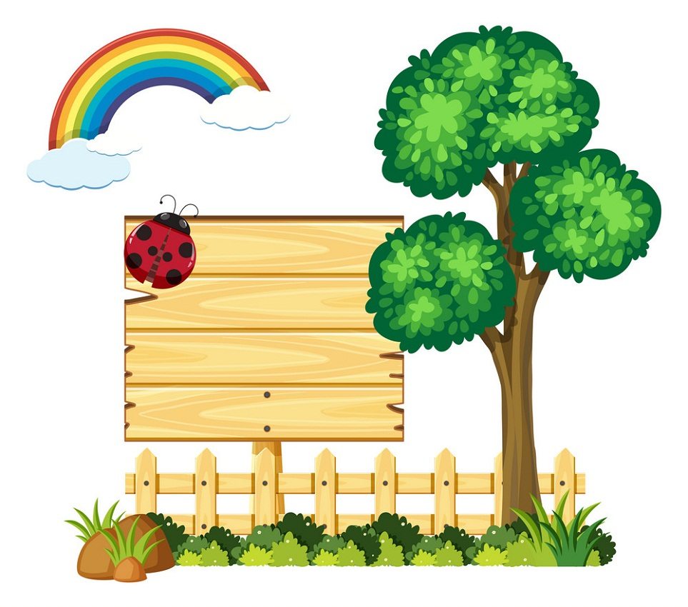 small rainbow in garden