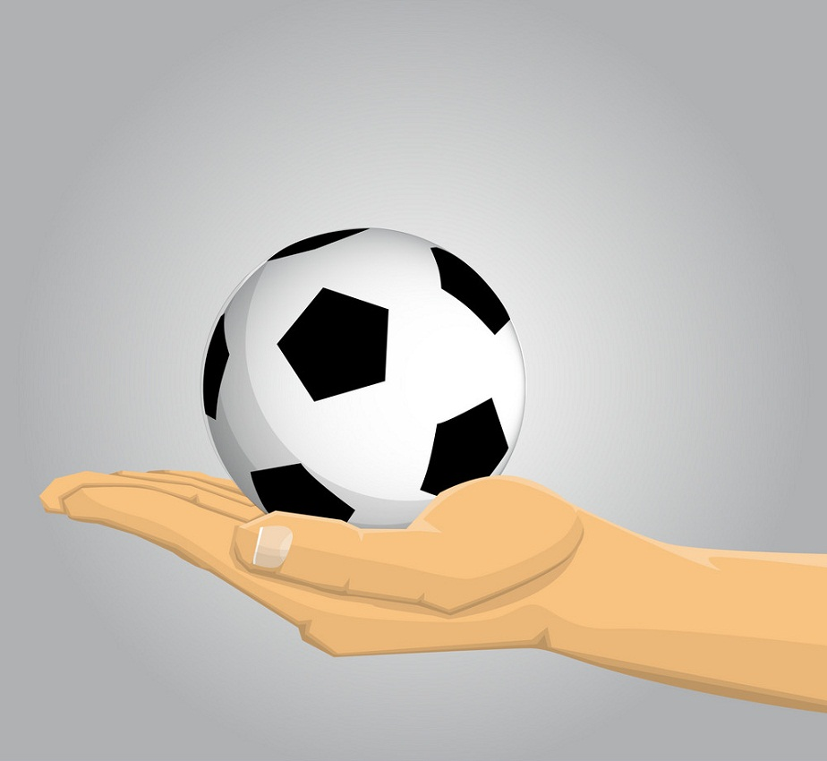 small soccer ball on hand