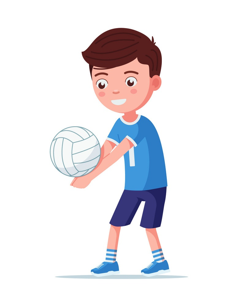 smiling boy playing volleyball