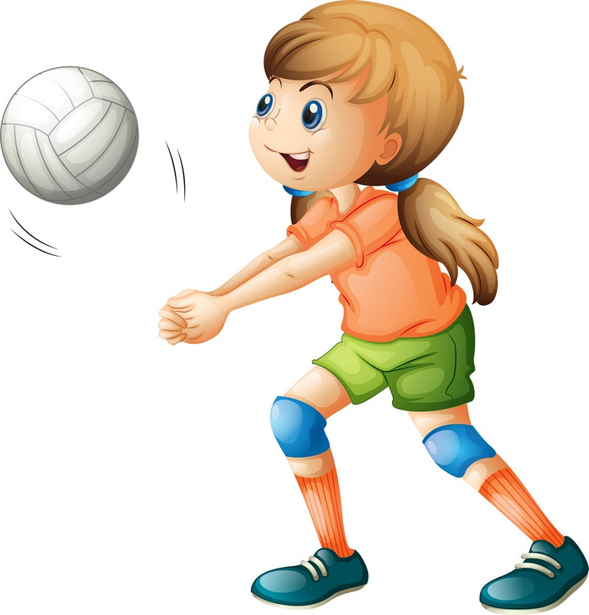 smiling girl playing volleyball
