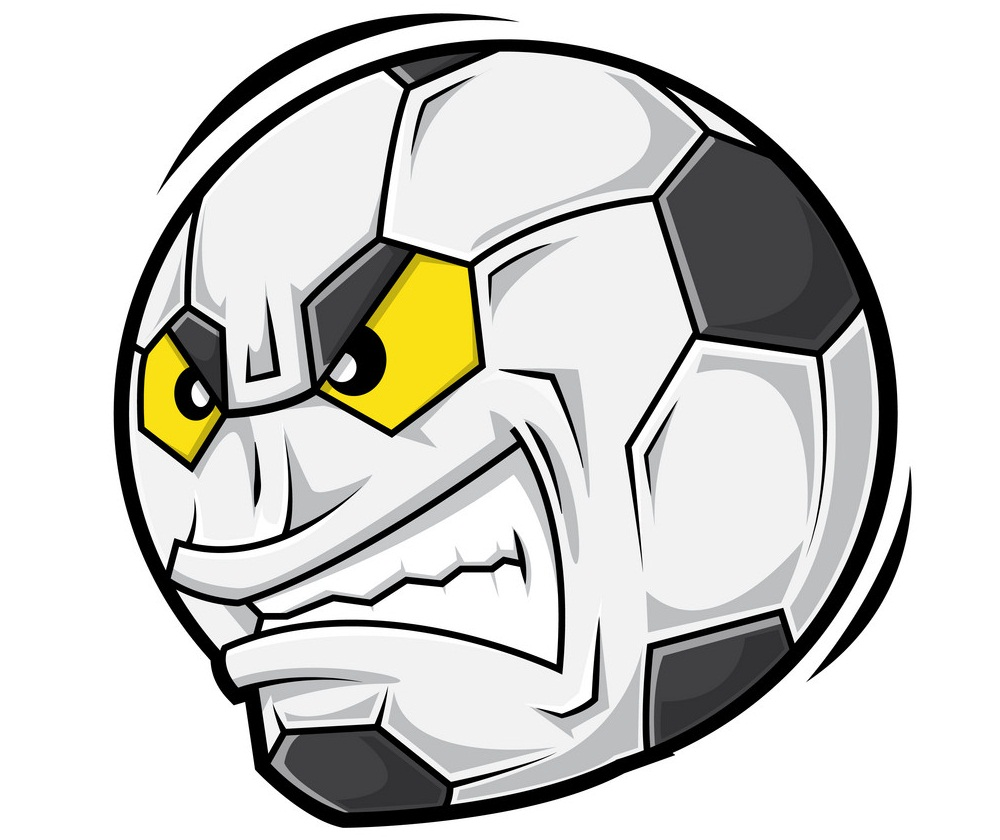 soccer ball with angry face