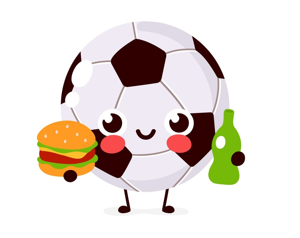 soccer ball with beer and hamburger