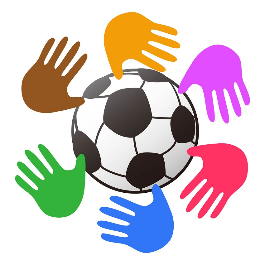 soccer ball with colorful hands around