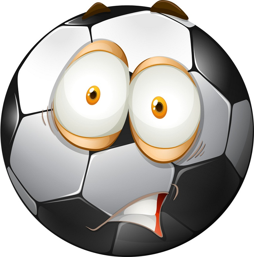 soccer ball with shocking face